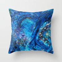 fairies Throw Pillows featuring Fairies Paradise by Lily Nava Gallery Fine Art and Design