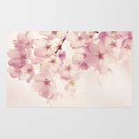cherry blossoms Area & Throw Rugs featuring cherry blossoms by Sylvia Cook Photography