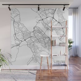 Halifax Map, Canada - Black and White Wall Mural