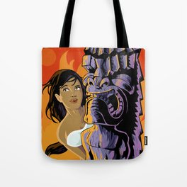 Wahine, Moon And Fire Tote Bag