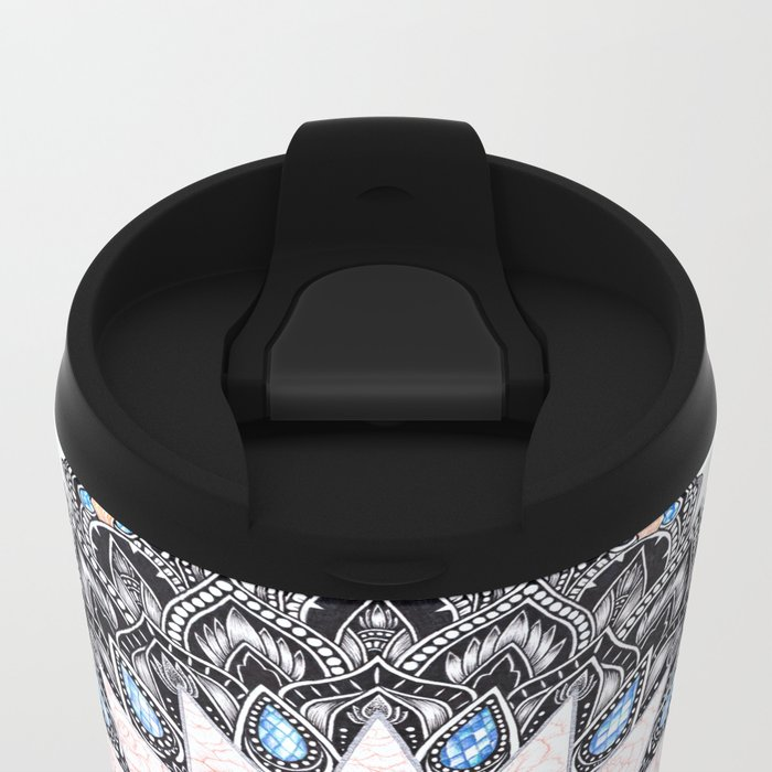 White Tiger Sapphire and Rose Mandala Metal Travel Mug