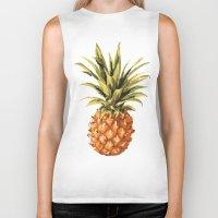pineapples Biker Tanks featuring Pineapples Pattern by JunkyDotCom