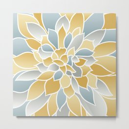 Floral Modern Art Print, Yellow, Aqua and Gray, Floral Prints Metal Print
