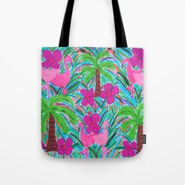 Beach Party with Palms and Flamingos Tote Bag