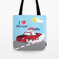 coraline Tote Bags featuring Ernest and Coraline   I love Michigan by Hisame Artwork