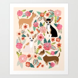Chihuahua florals cute pastel dog breed must have gifts for small dog owner dog person pet portraits Art Print