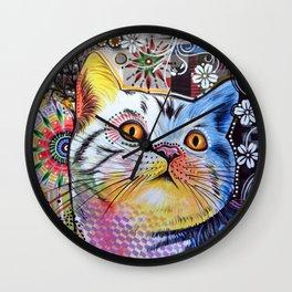 Chloe ... Abstract cat pet animal kitty art Wall Clock
