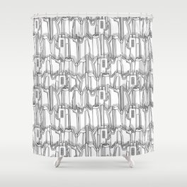 1960s classic fairy tails (tail fins) black and white Shower Curtain