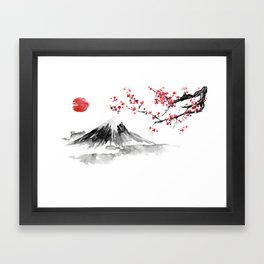 Sunset Over Mt Fuji Framed Art Print