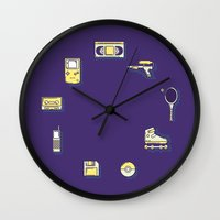 90s Wall Clocks featuring 90s Stuff by POP Collective