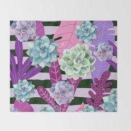 Succulent Stripes Throw Blanket