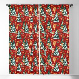 Corgis decorate the christmas tree - red pattern Blackout Curtain