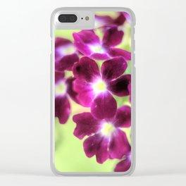 Close up of a purple verbena flower Clear iPhone Case