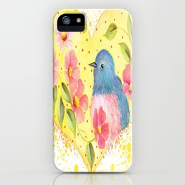 Flowers and Bird in Heart iPhone Case