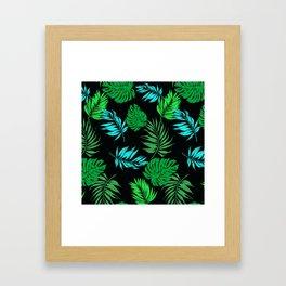 Vintage Retro Tropical Leaf Pattern Framed Art Print