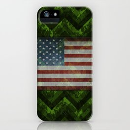 Leaf Green Digital Camo Chevrons with American Flag iPhone Case
