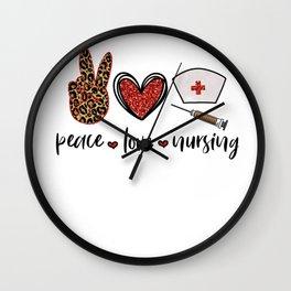 Nurse Gifts to Ship Peace Love Nursing Nurse Hat Wall Clock