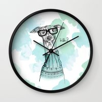 greyhound Wall Clocks featuring Funny Greyhound by Bentje Graumann
