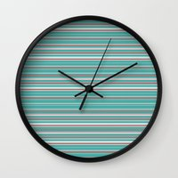 striped Wall Clocks featuring Striped by Marika's Artworks