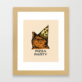 Pizza Party Cat: Funny Animal Kitty Framed Art Print