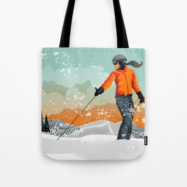 Skier Looking Tote Bag