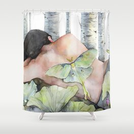 Sleeping in the Forest, Luna Moth Girl with Dark Hair Shower Curtain