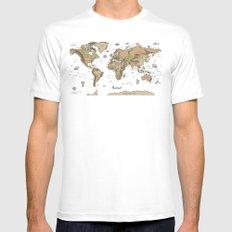 World Treasure Map Mens Fitted Tee MEDIUM White