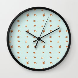 Foxy pattern and typeface Wall Clock