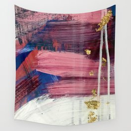 Los Angeles [3]: A vibrant, abstract piece in reds and blues and gold by Alyssa Hamilton Art Wall Tapestry