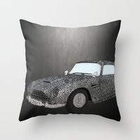 james bond Throw Pillows featuring James Bond Aston Martin DB5 by Dany Delarbre