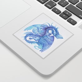 A dragon with a book Sticker