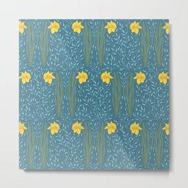 Daffodil Field Cerulean Metal Print