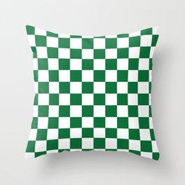 Checkered (Dark Green & White Pattern) Throw Pillow