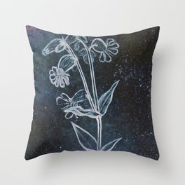 Bladder Campion in Space Throw Pillow