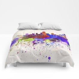 Bogota skyline in watercolor background Comforters