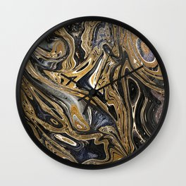Black and Gold Liquid Marble Wall Clock