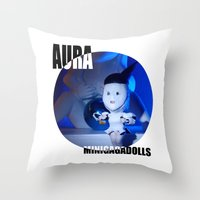 artrave Throw Pillows featuring AURA ARTRAVE by Sergiomonster