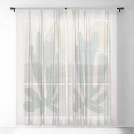 Botanical Matisse NO.3   Sage Green Sheer Curtain