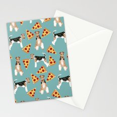 Wire Fox Terrier dog pattern pizza dog lover gifts for dog person dog breeds pet friendly Stationery Cards