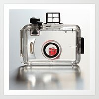 Transparent waterproof camera case and dice Art Print