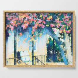 Old Porch of Pink and Teal by CheyAnne Sexton Serving Tray