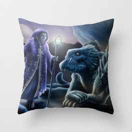 The sorceress and the dragon Throw Pillow