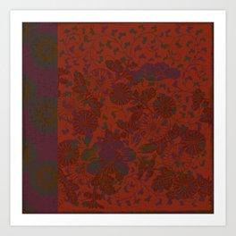 Caravans II:  Asian Print  Plum, gold, orange green origami textile floral design Art Print