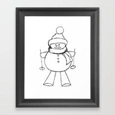 Skier Snowman AZ02 Framed Art Print