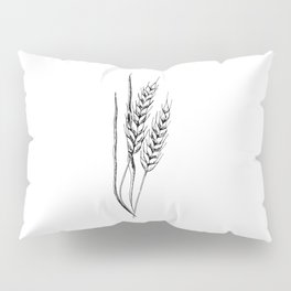 Wheat sketch. Hand drawn spike of wheat. Monochrome. Black and white Pillow Sham