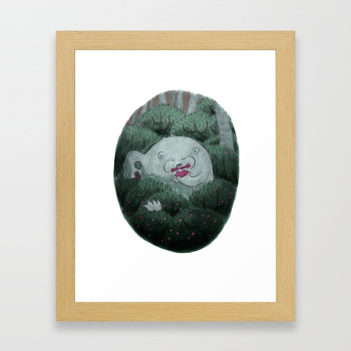 Bear and Berries Framed Art Print