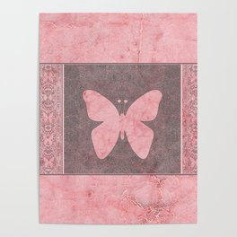 Decorative Pink Paper Texture Butterfly Design Poster