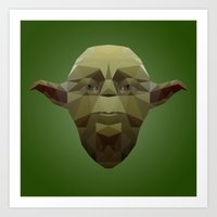 low poly Art Prints featuring Yoda Low Poly by organicdreams