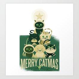 Cat Christmas Tree Merry Catmas Art Print
