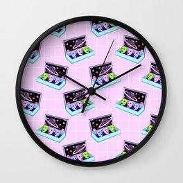 Alien box / Pink Grid Wall Clock